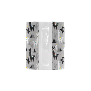 Black and White Llama Pattern Classical White Mug (FulFilled In US)