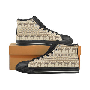 Traditional Camel Pattern Ethnic Motifs Women's High Top Shoes Black Made In USA