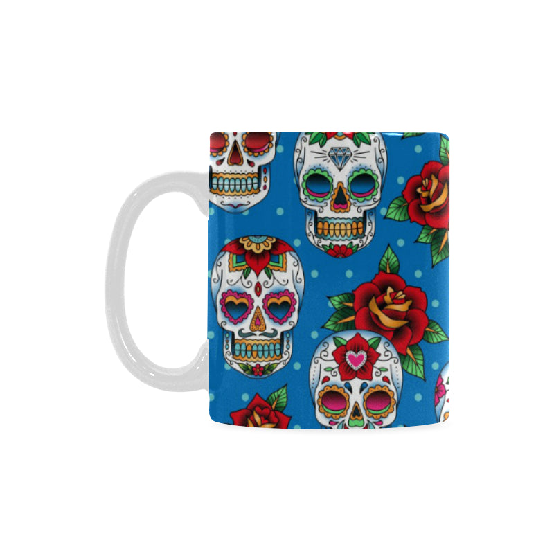 Suger Skull Rose Pattern Classical White Mug (FulFilled In US)