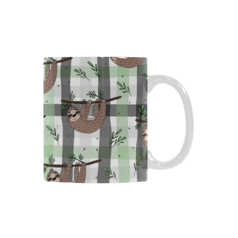 Sloth Pattern Stripe Background Classical White Mug (FulFilled In US)