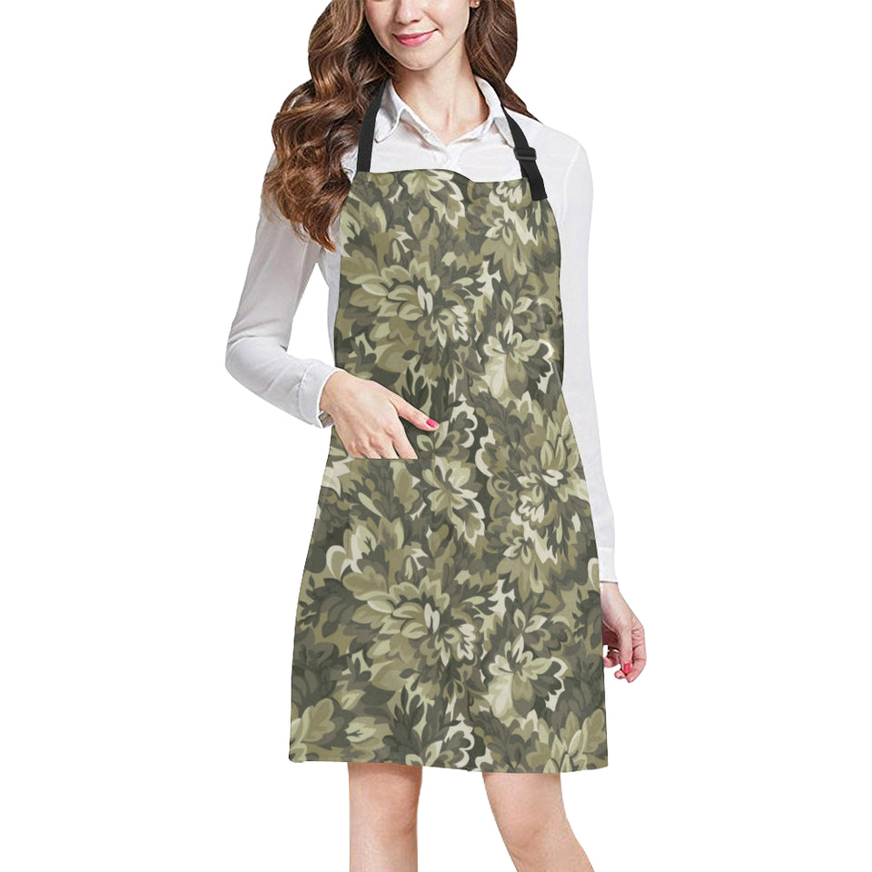 Green Camo Camouflage Flower Pattern Adjustable Apron