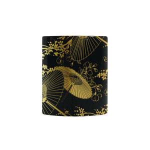 Gold Fan Flower Japanese Pattern Classical White Mug (FulFilled In US)