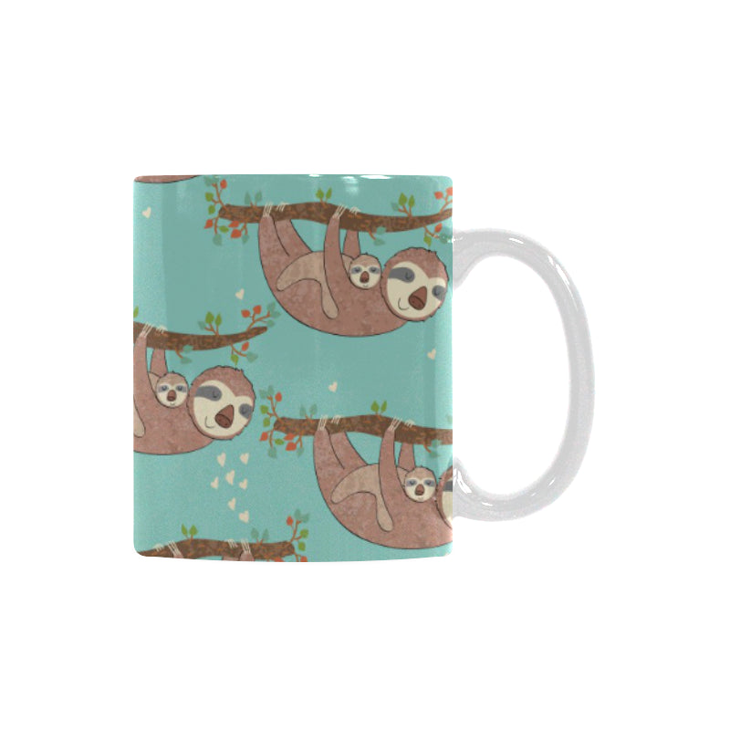 Sloth Mom and baby Pattern Classical White Mug (FulFilled In US)