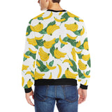 Banana and Leaf Pattern Men's Crew Neck Sweatshirt