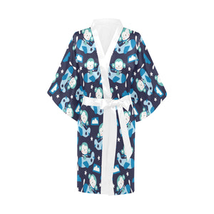 Monkey in Airplane Pattern Women's Short Kimono Robe