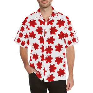 Red Maple Leaves Pattern Men's All Over Print Hawaiian Shirt
