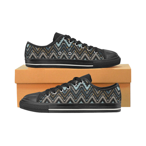 Zigzag Chevron African Afro Dashiki Adinkra Kente Men's Low Top Canvas Shoes Black