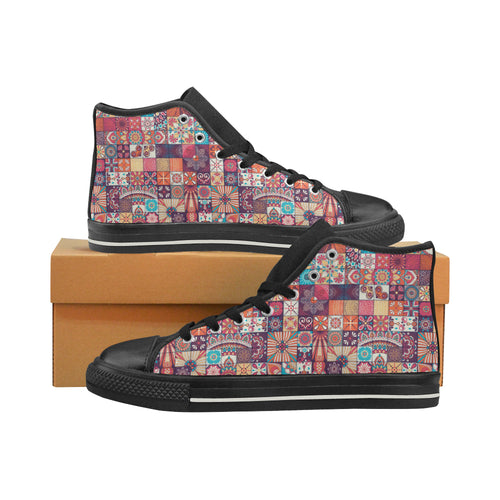 Vintage Decorative Elements Arabic Morocco Pattern Women's High Top Shoes Black Made In USA