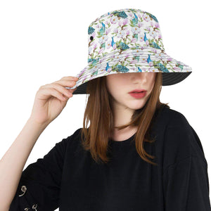Peacock Pink Flower Pattern Unisex Bucket Hat