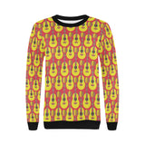 Classic Guitar Theme Pattern Women's Crew Neck Sweatshirt
