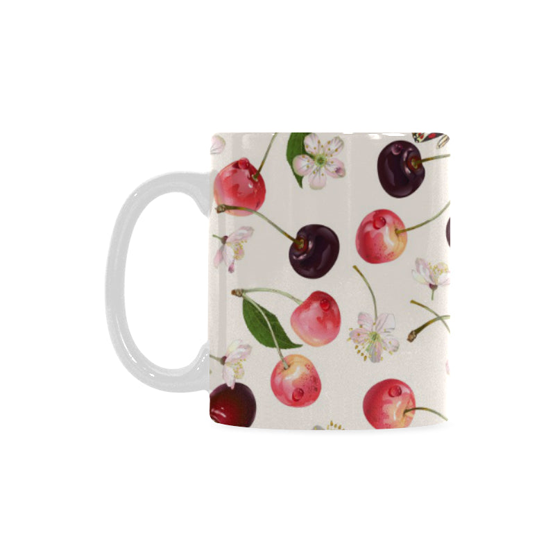 Cherry Flower Butterfly Pattern Classical White Mug (FulFilled In US)
