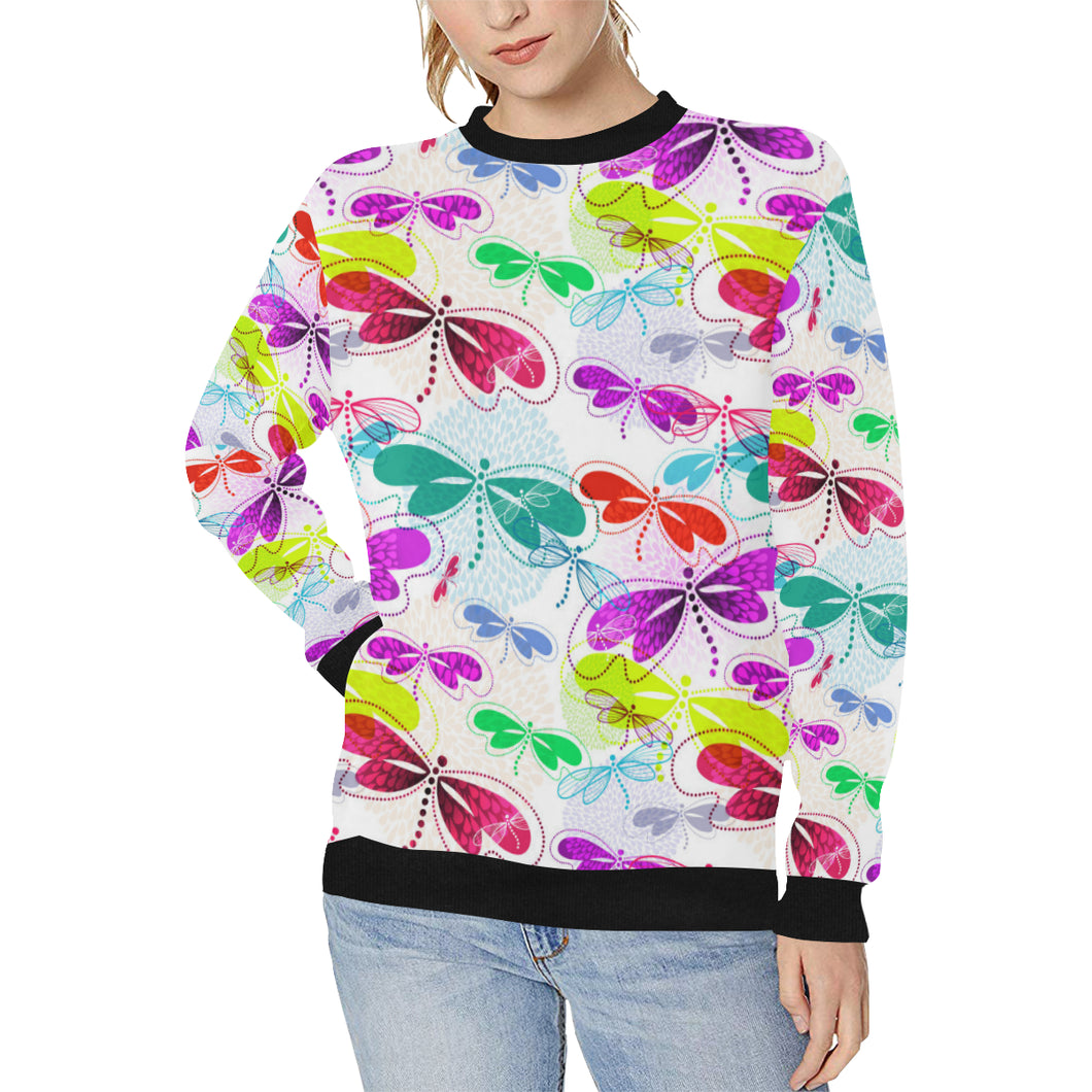 Colorful Dragonfly Pattern Women's Crew Neck Sweatshirt