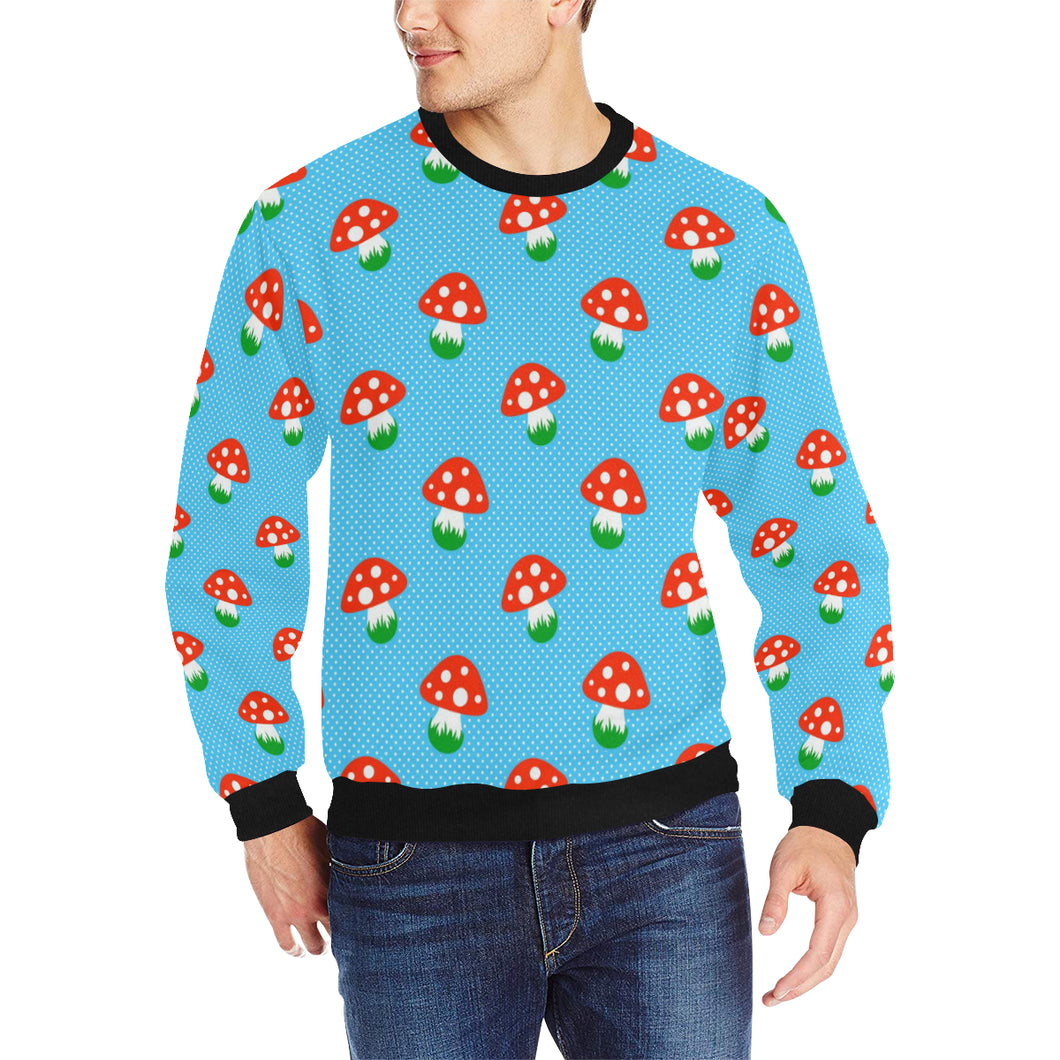 Mushroom Pokkadot Pattern Men's Crew Neck Sweatshirt