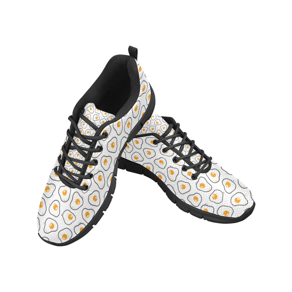 Fried Eggs Pattern Print Design 05 Men's Sneakers Black