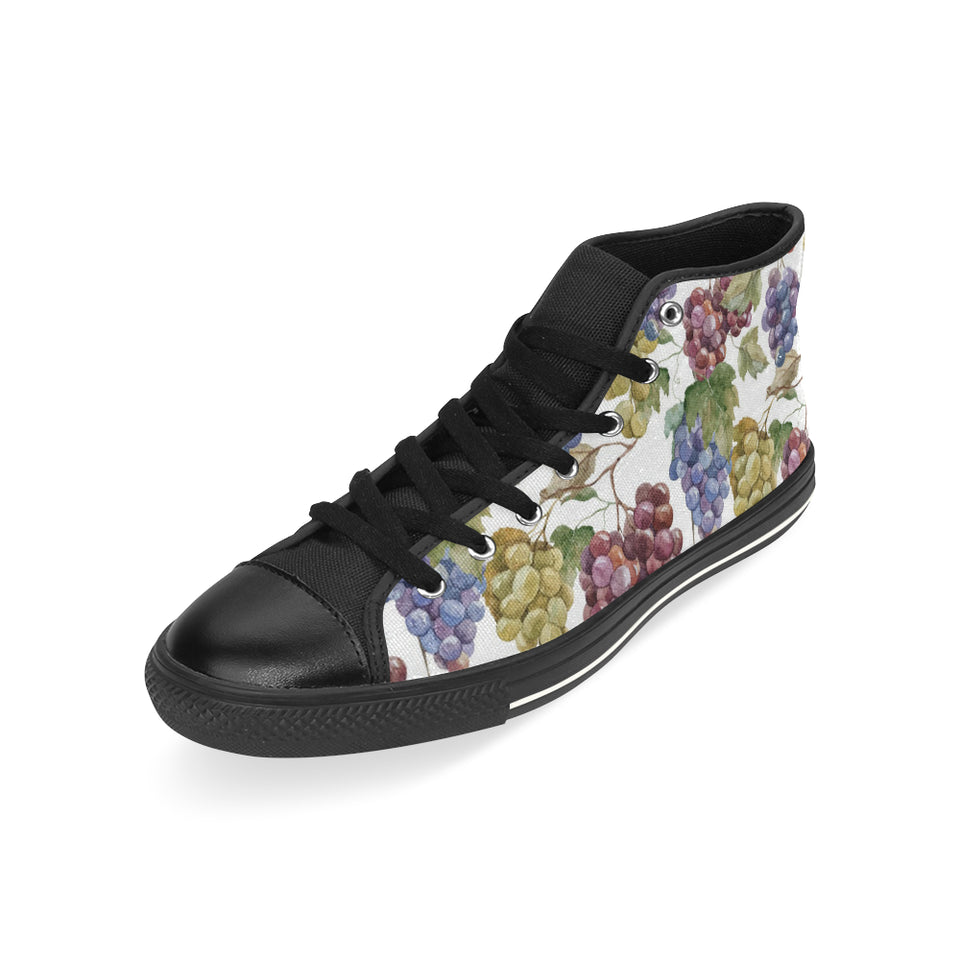 Grape Pattern Men's High Top Shoes Black (FulFilled In US)