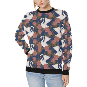 Swan Rose Pattern Women's Crew Neck Sweatshirt