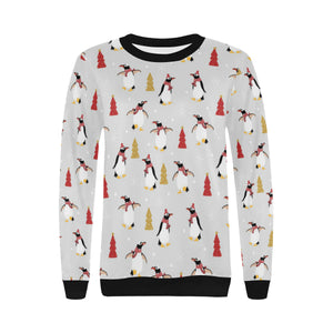 Penguin Christmas Tree Pattern Women's Crew Neck Sweatshirt