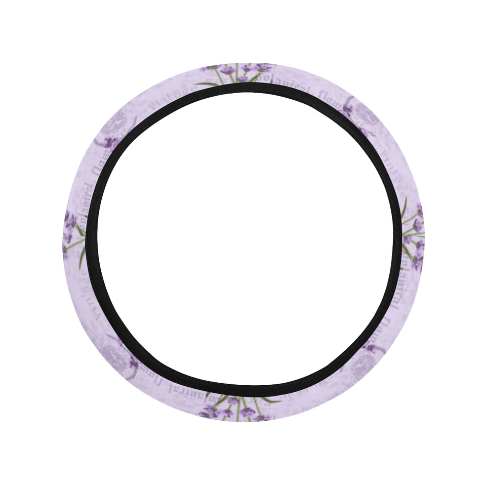 Lavender Pattern Background Car Steering Wheel Cover