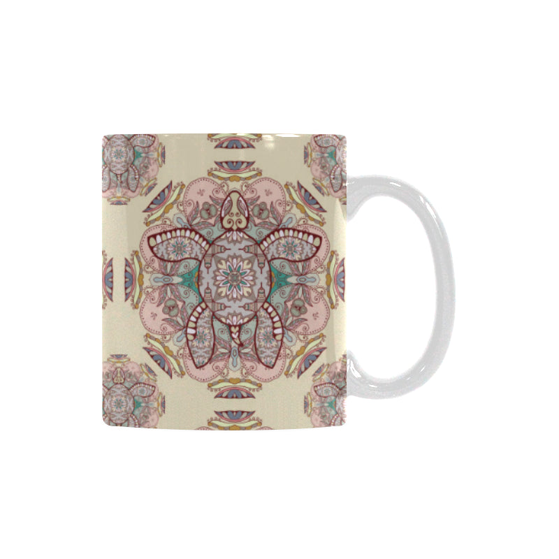 Sea Turtle Tribal Pattern Classical White Mug (FulFilled In US)