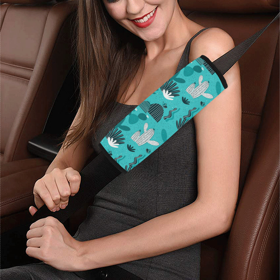 Green Cactus Pattern Car Seat Belt Cover