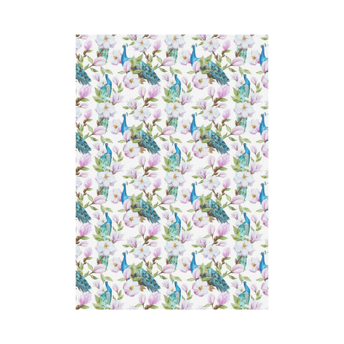 Peacock Pink Flower Pattern House Flag Garden Flag