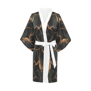 Monkey Pattern Black Background Women's Short Kimono Robe
