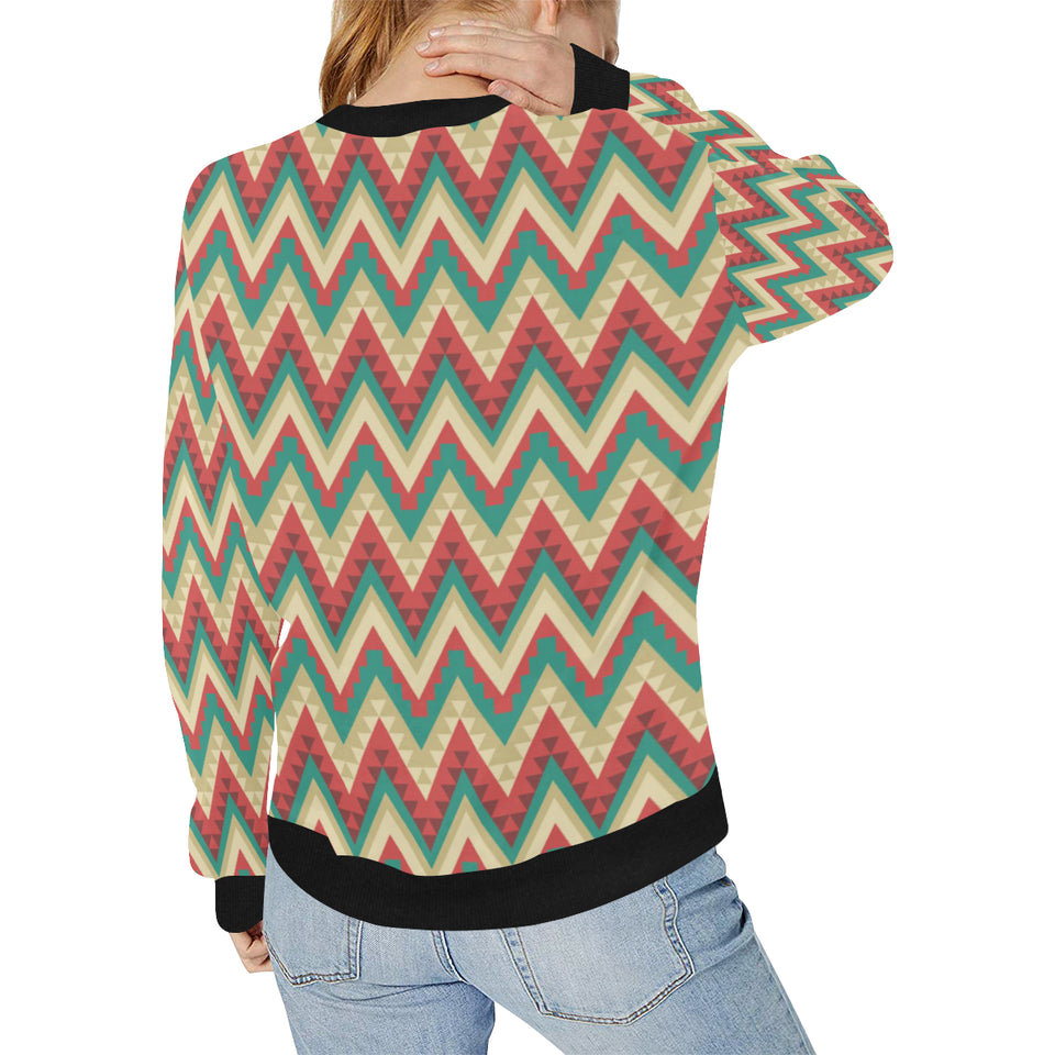 Zigzag Chevron Pattern Women's Crew Neck Sweatshirt