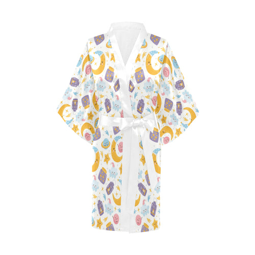 Moon Sleep Pattern Women's Short Kimono Robe