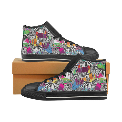 Zebra Colorful Pattern Women's High Top Shoes Black Made In USA