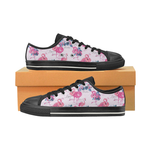 Flamingo Pink Pattern Men's Low Top Canvas Shoes Black