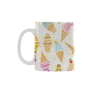 Ice Cream Cone Pattern Background Classical White Mug (FulFilled In US)