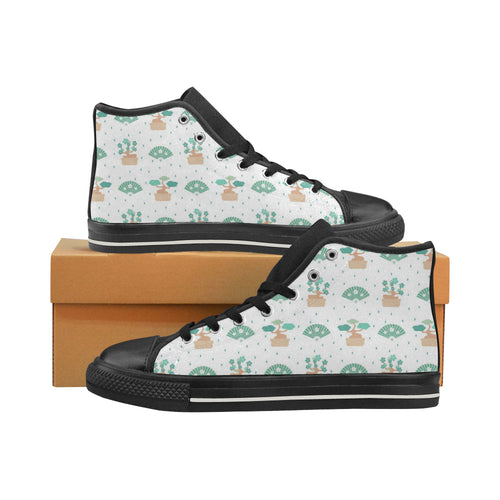 Bonsai Fan Pattern Men's High Top Shoes Black