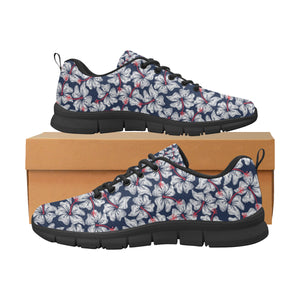 Hibiscus Pattern Print Design 02 Women's Sneakers Black