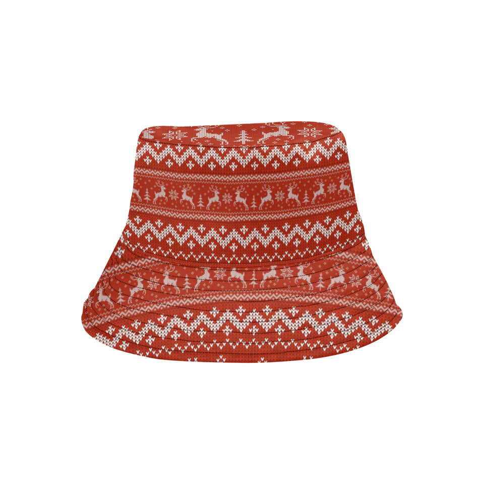 Deer Sweater Printed Red Pattern Unisex Bucket Hat