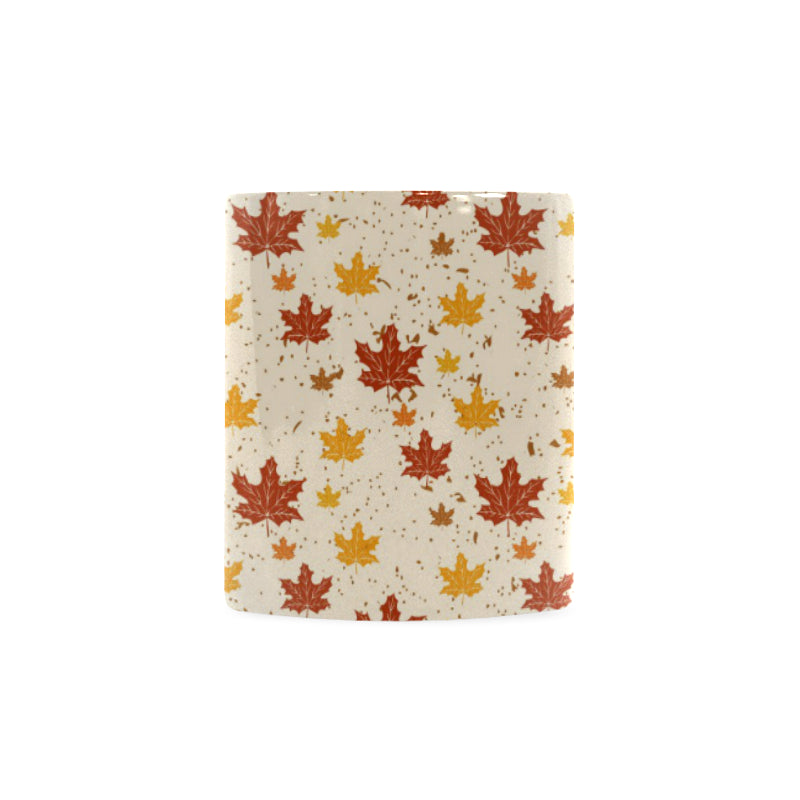 Red and Orange Maple Leaves Pattern Classical White Mug (FulFilled In US)