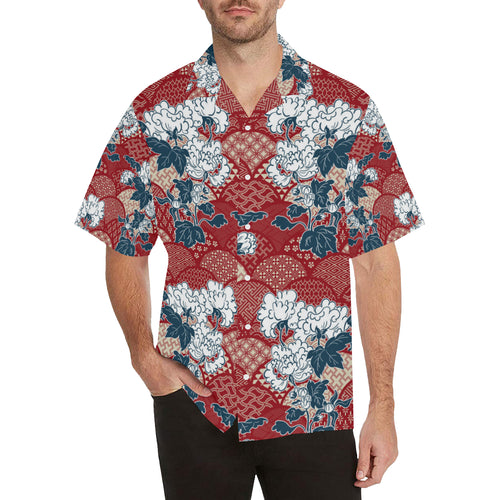 Red Theme Japanese Pattern Men's All Over Print Hawaiian Shirt