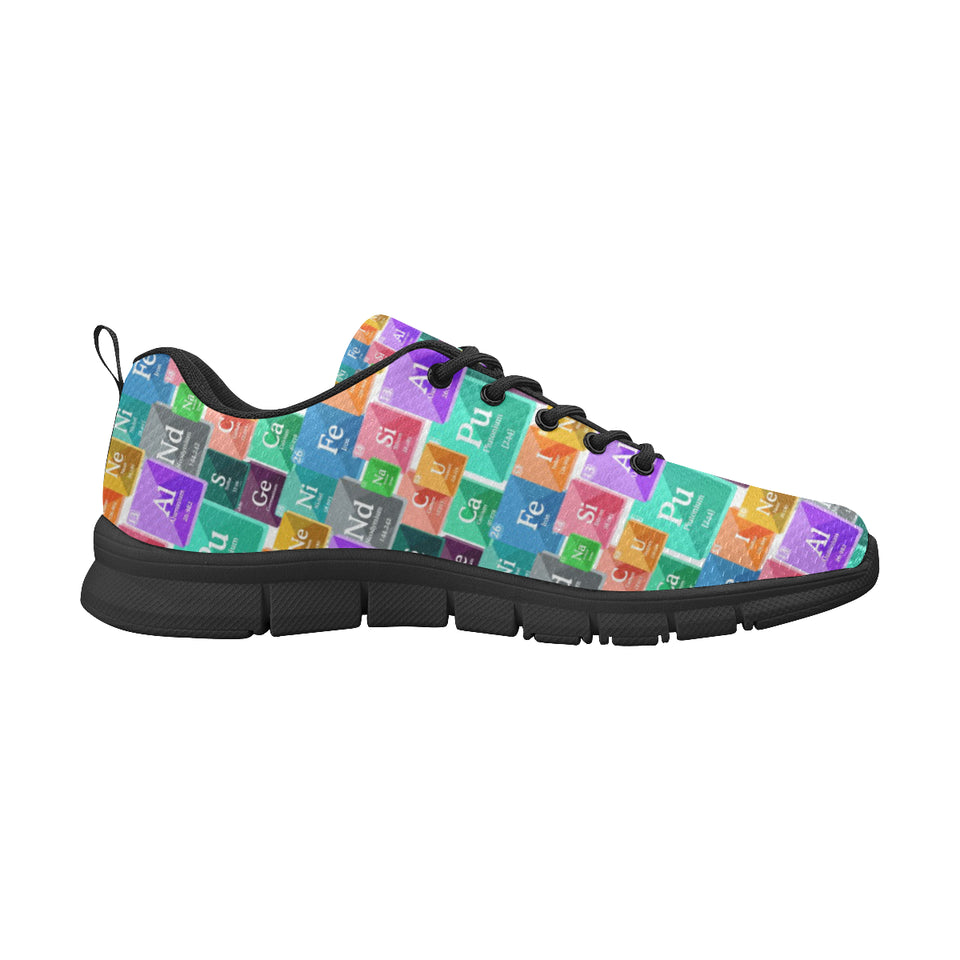Chemistry Periodic Table Pattern Print Design 05 Women's Sneakers Black