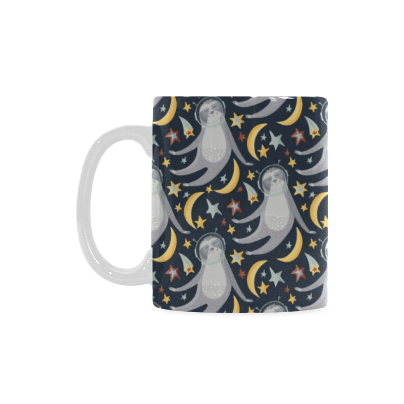 Sloth Astronaut Pattern Classical White Mug (FulFilled In US)