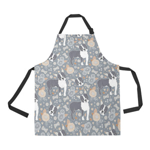 Boston Terrier Flower Pattern Gray Background Adjustable Apron