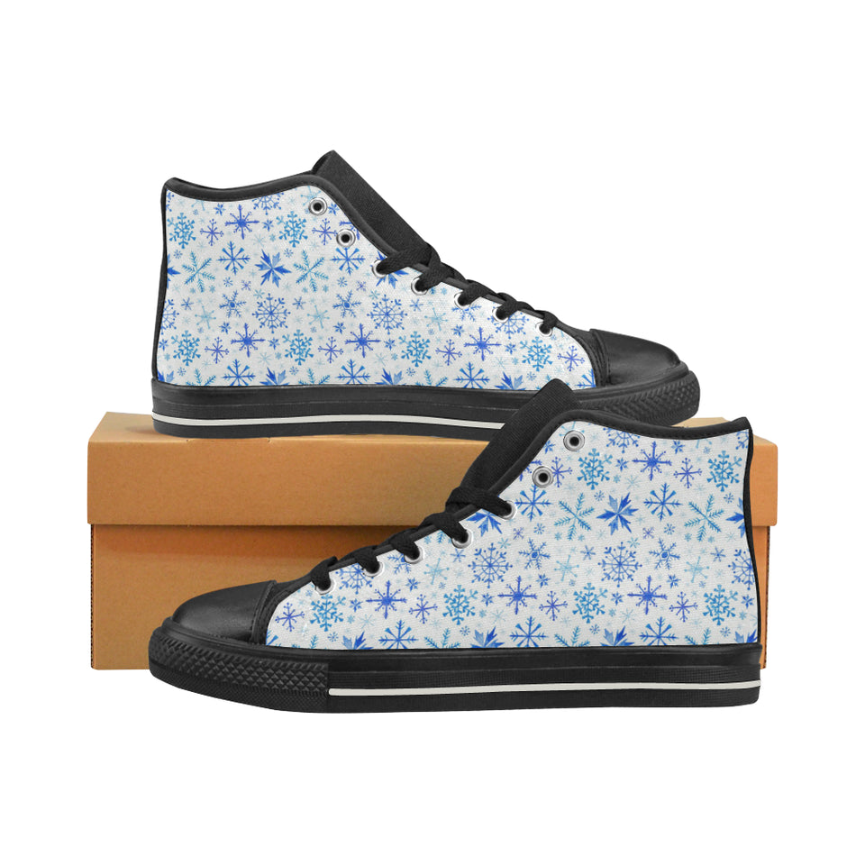 Blue Snowflake Pattern Women's High Top Shoes Black
