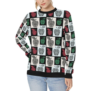 Apple Tribel Pattern Women's Crew Neck Sweatshirt