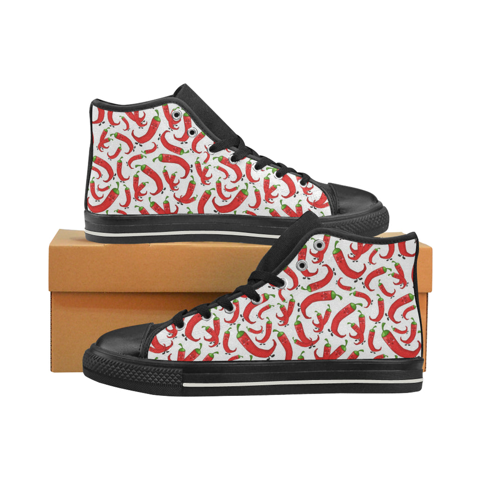 Red Chili Pattern Women's High Top Shoes Black