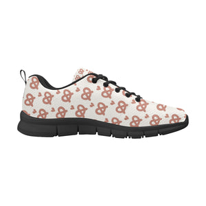 Pretzels Pattern Print Design 01 Women's Sneakers Black