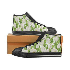 White Tulip Pattern Women's High Top Shoes Black Made In USA