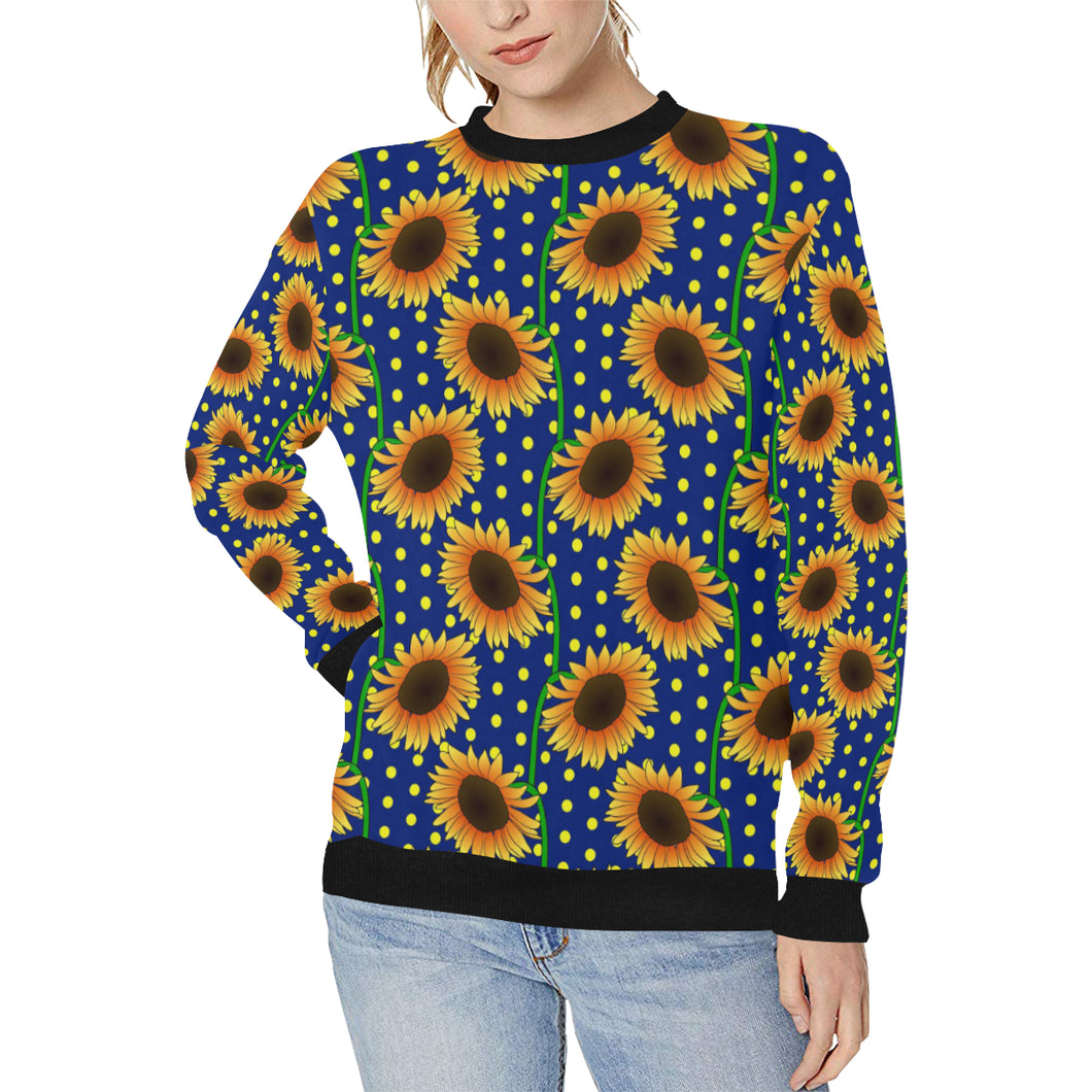 Sunflower Pokka Dot Pattern Women's Crew Neck Sweatshirt