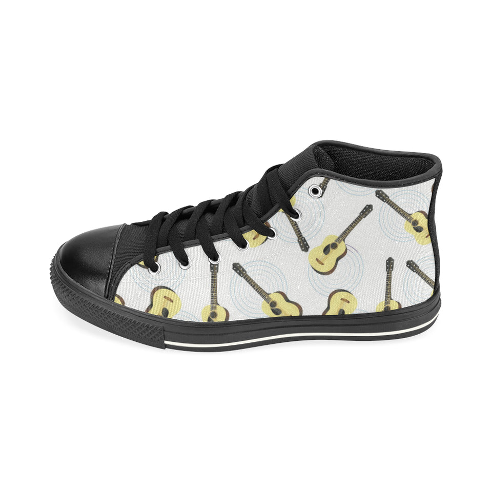 Classic Guitar Pattern Men's High Top Shoes Black (FulFilled In US)