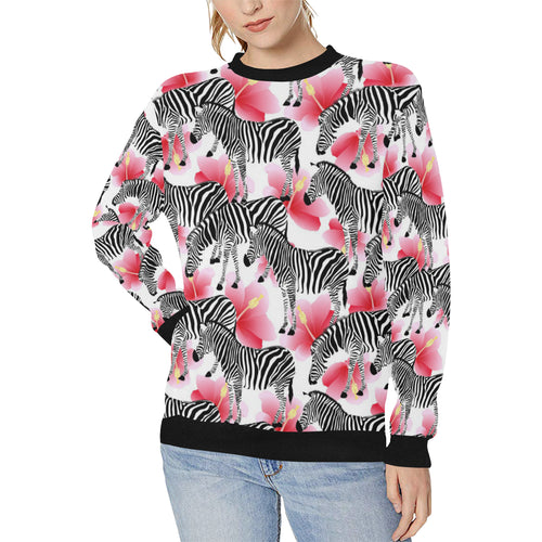 Zebra Red Hibiscus Pattern Women's Crew Neck Sweatshirt