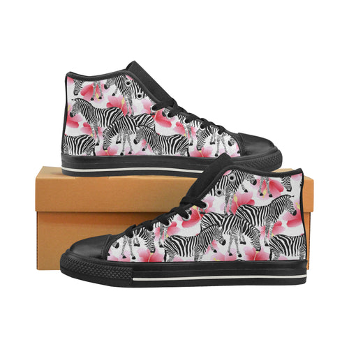 Zebra Red Hibiscus Pattern Men's High Top Shoes Black (FulFilled In US)