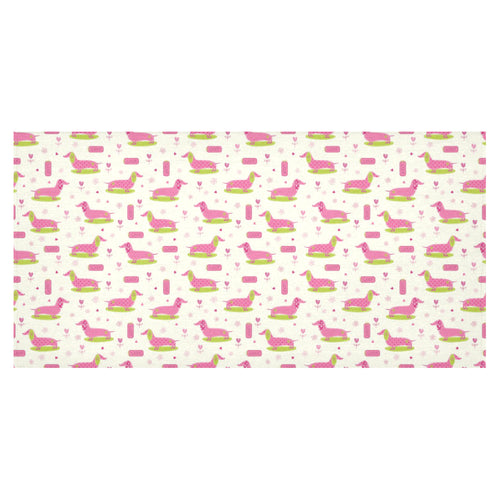 Pink Dachshund Pattern Tablecloth
