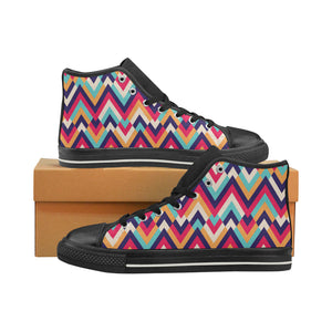 Zigzag Chevron Pattern Background Women's High Top Shoes Black Made In USA